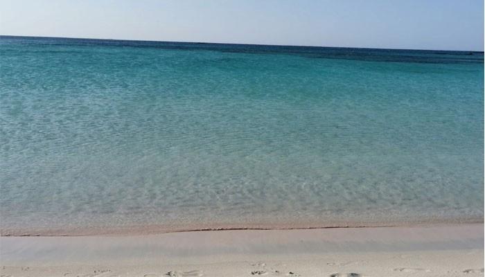 Розовый пляж на острове Элафониси