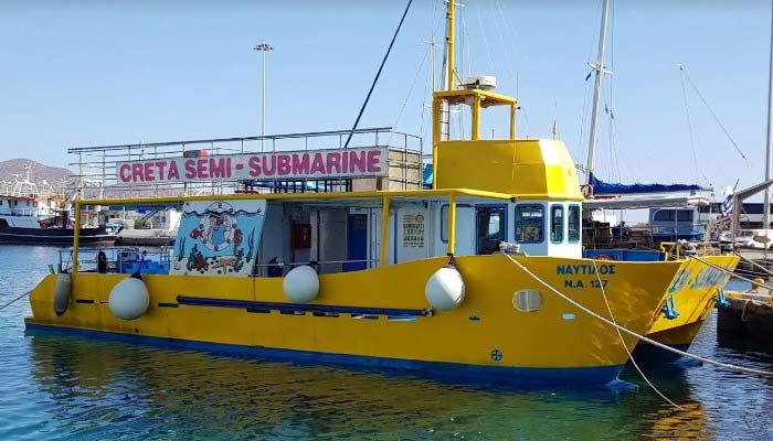 Полуподводная лодка Semi submarine в Агиос Николаос на Крите