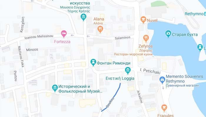 Улица Солидо на карте Ретимно